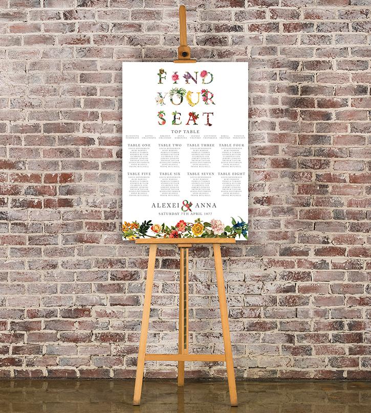 Floribunda Table Plan - vintage floral wedding stationery seating chart uk - Hawthorne and Ivory