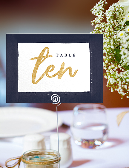 Navy and Gold Table Number - nautical stripe blue gold watercolour wedding stationery suite uk - Hawthorne and Ivory