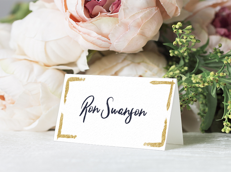 Navy and Gold Placecard - nautical stripe blue gold watercolour wedding stationery suite uk - Hawthorne and Ivory