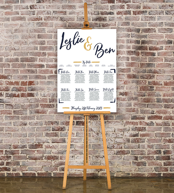 Navy and Gold Table Plan - nautical stripe blue gold watercolour wedding stationery seating chart uk - Hawthorne and Ivory