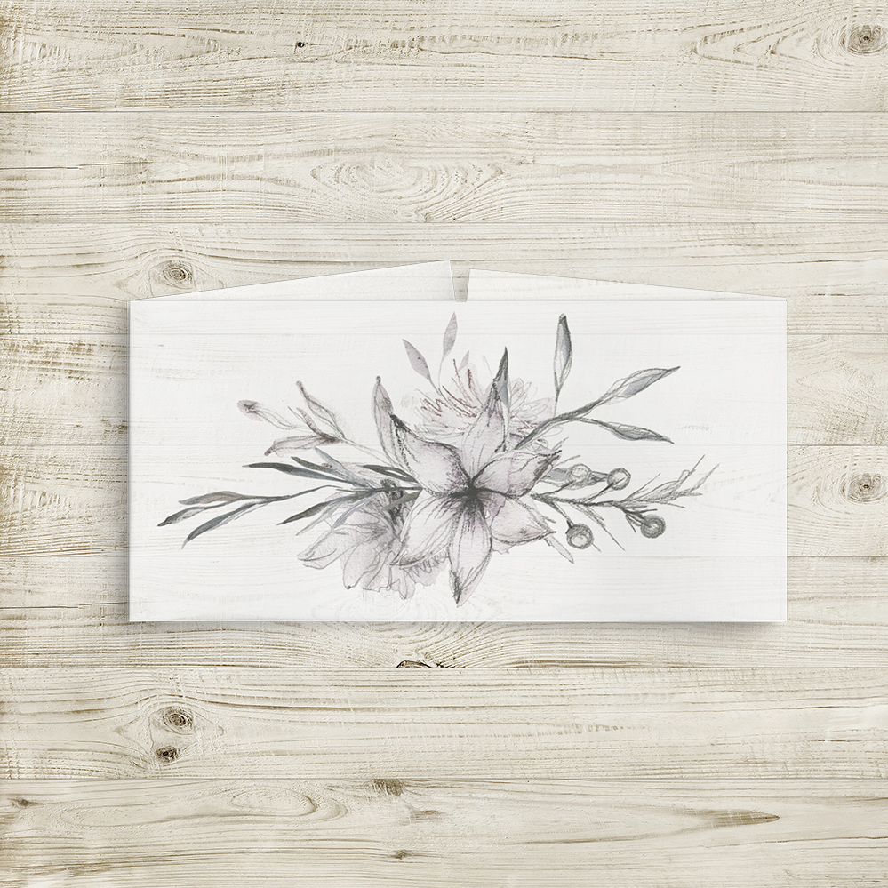 Grey Dust Belly Band - hand drawn flowers illustrated floral wedding wedding stationery suite uk - Hawthorne and Ivory