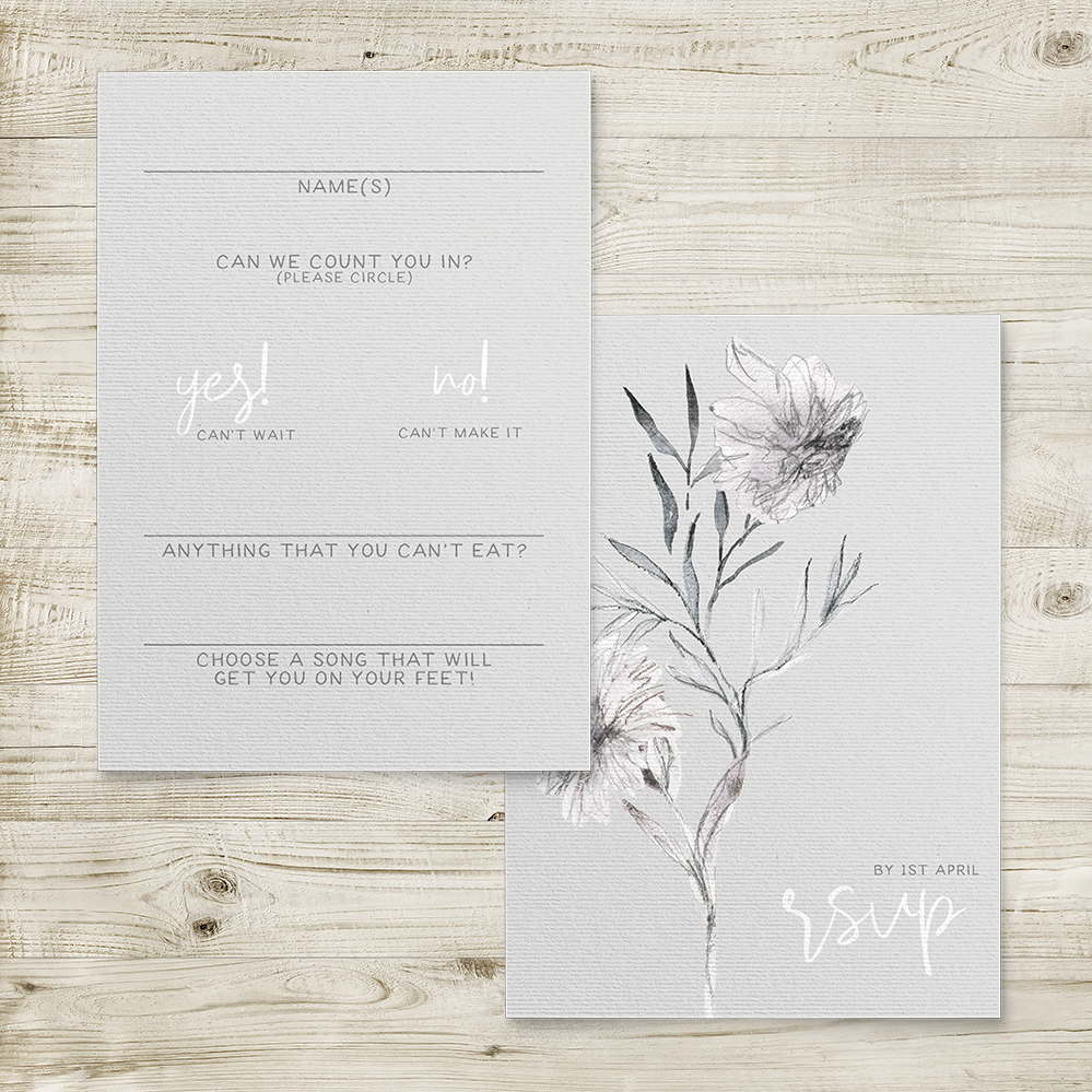 Grey Dust RSVP Card - hand drawn flowers illustrated floral wedding wedding stationery suite uk - Hawthorne and Ivory