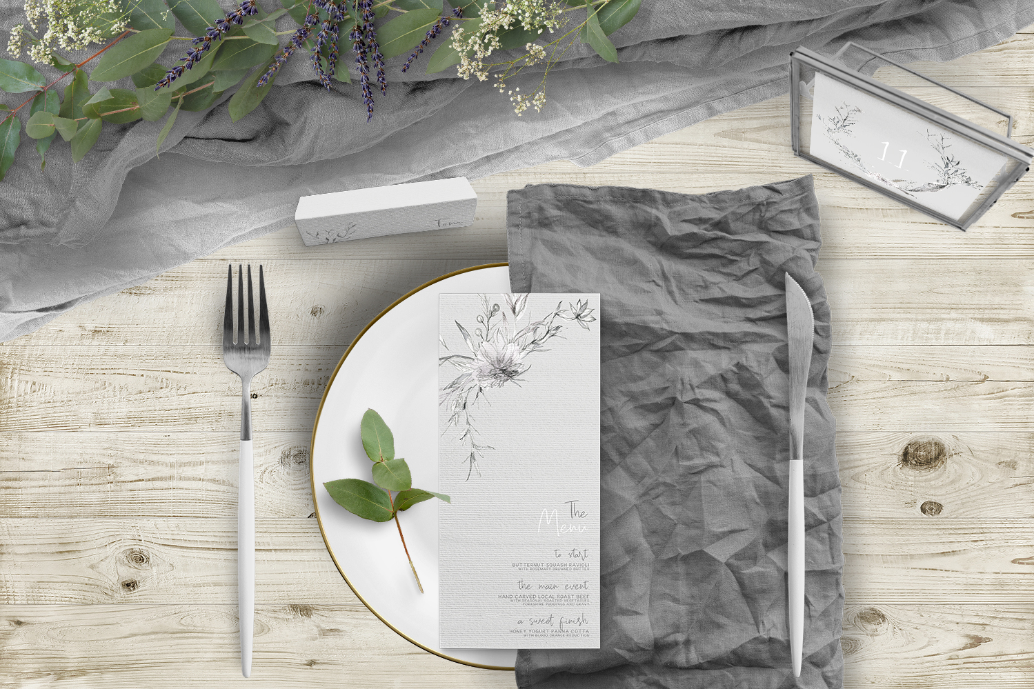 Grey Dust Tablescape - hand drawn flowers illustrated floral wedding stationery place setting menu card table number uk - Hawthorne and Ivory