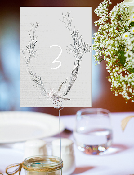 Grey Dust Table Number - hand drawn flowers illustrated floral wedding stationery place setting menu card table number uk - Hawthorne and Ivory