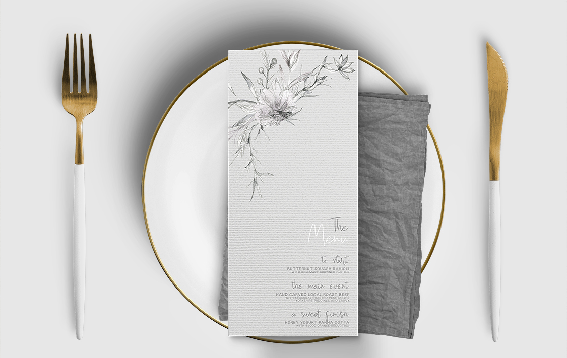 Grey Dust Menu Card - hand drawn flowers illustrated floral wedding stationery place setting menu card table number uk - Hawthorne and Ivory