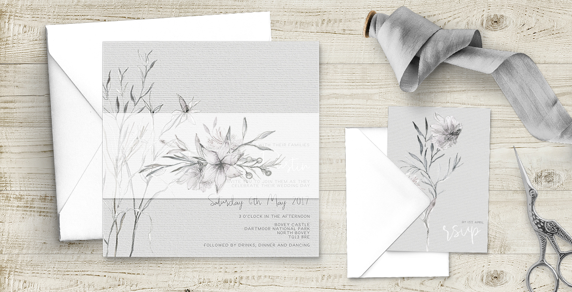 Grey Dust Wedding Invitation Suite