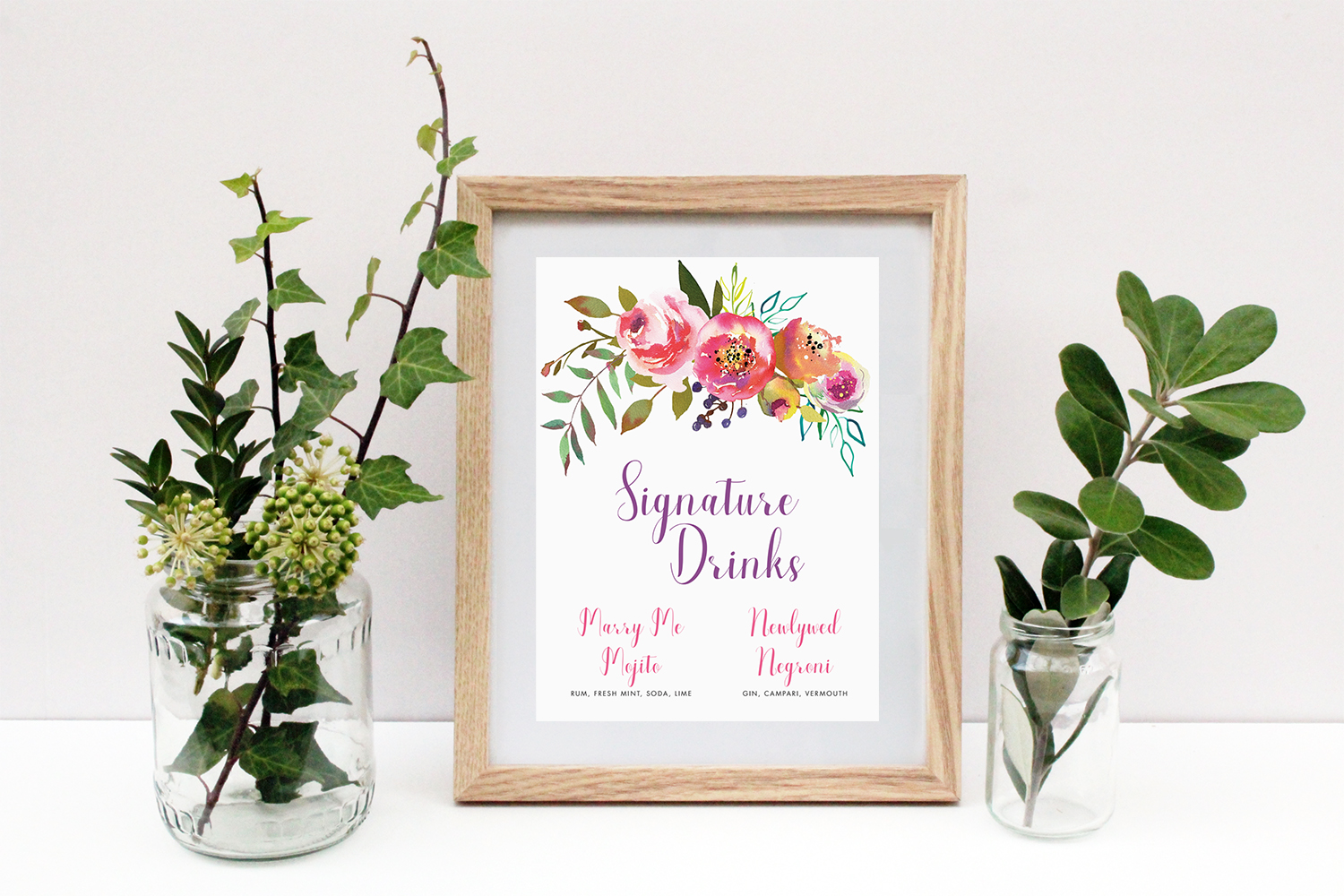 Wedding Signage Hawthorne and Ivory Watercolour Floral Signature Drinks Cocktails