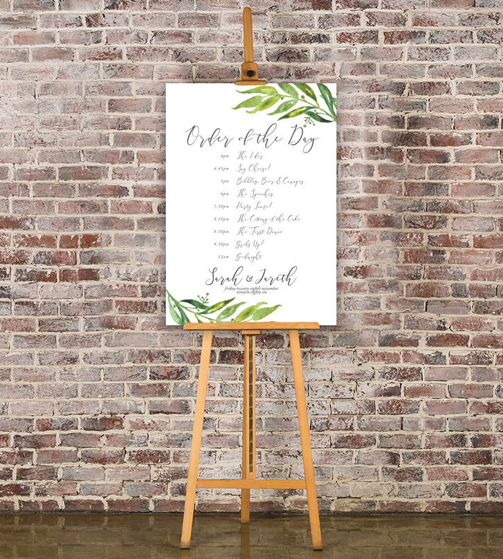 Wedding Signage Hawthorne and Ivory Olive Branch Watercolour Order of the Day