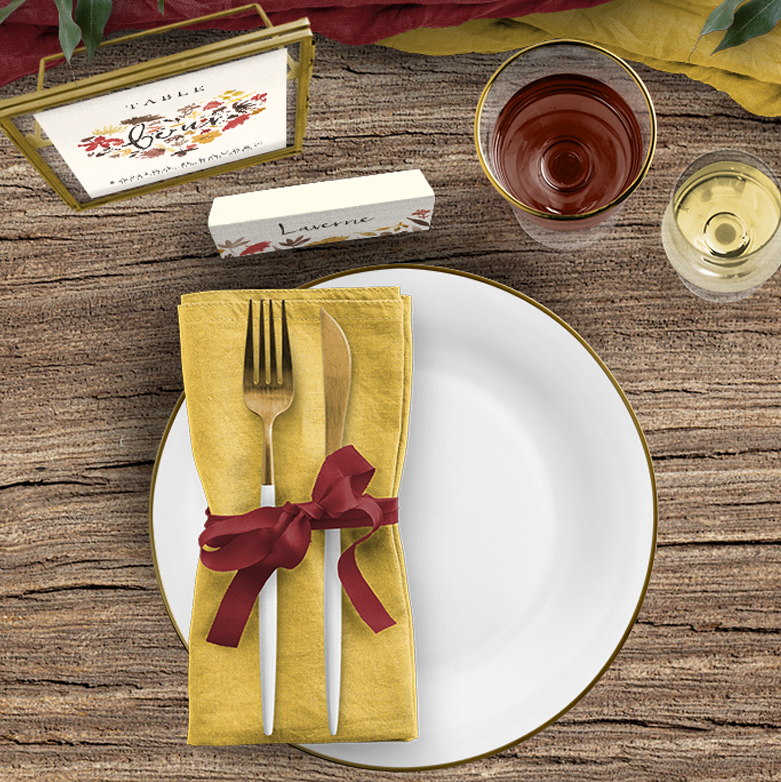 Cranberry and mustard on the day stationery place card table number
