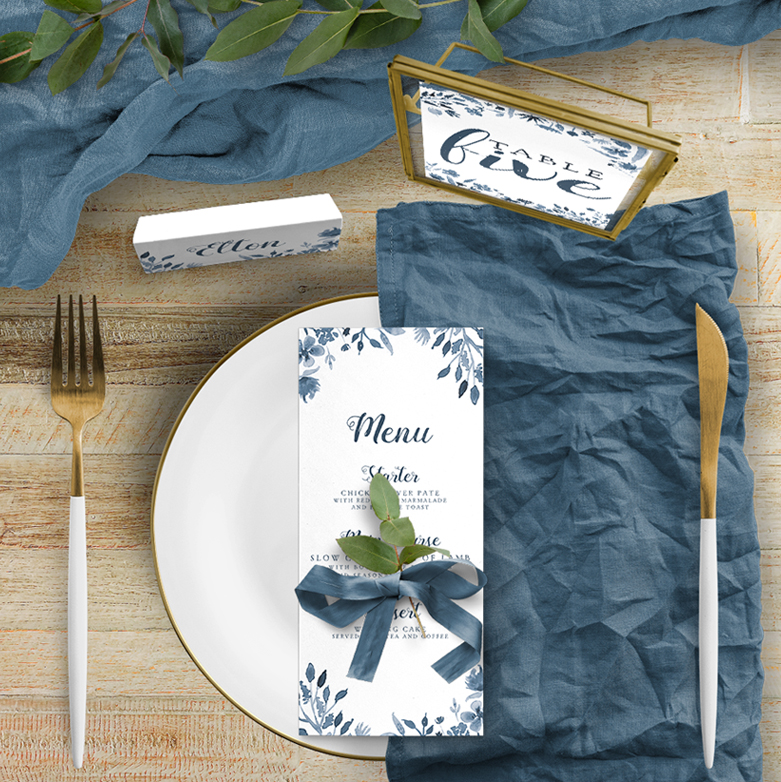 Dusky Blue on the day stationery place card menu table number