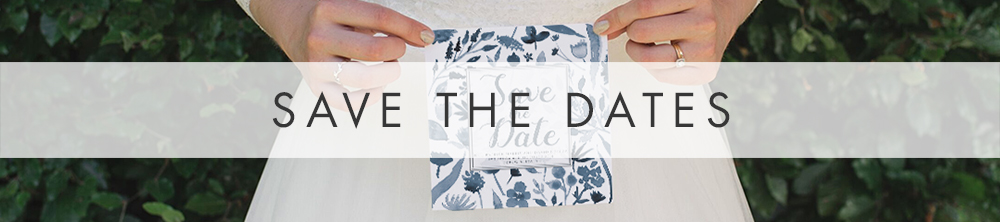 Dusky Blue Save The Date - watercolour blue floral wedding stationery suite UK - Hawthorne and Ivory