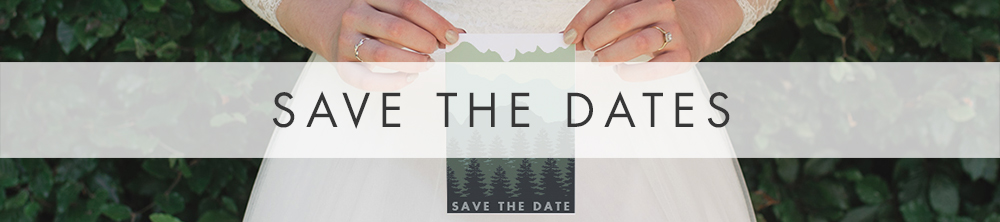 Blue Green Mountains Save The Date - travel destination modern wedding stationery suite UK - Hawthorne and Ivory
