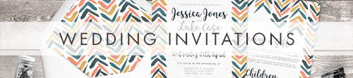 Retro Chic Invitation Suite - painted chevron slate grey blue peach mustard wedding stationery suite UK - Hawthorne and Ivory