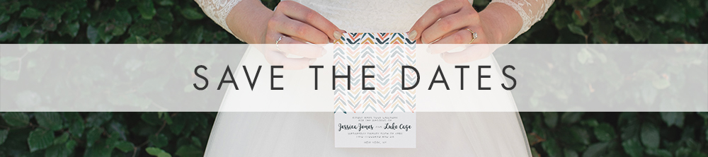 Retro Chic Save The Dates - painted chevron slate grey blue peach mustard wedding stationery suite UK - Hawthorne and Ivory