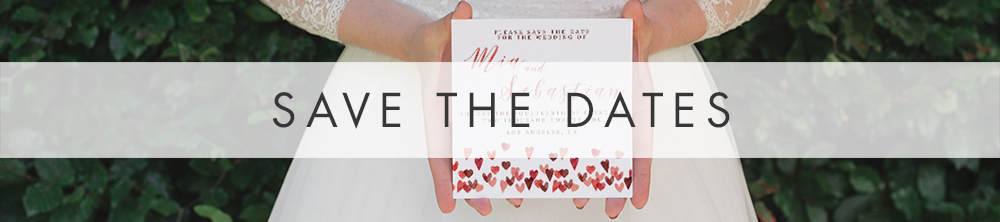 Valentines Hearts Save The Dates - watercolour pink red love wedding stationery suite UK - Hawthorne and Ivory