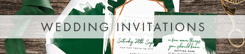 Geometric Emerald Wedding Invitations - modern green watercolour copper frame wedding stationery suite uk - Hawthorne and Ivory