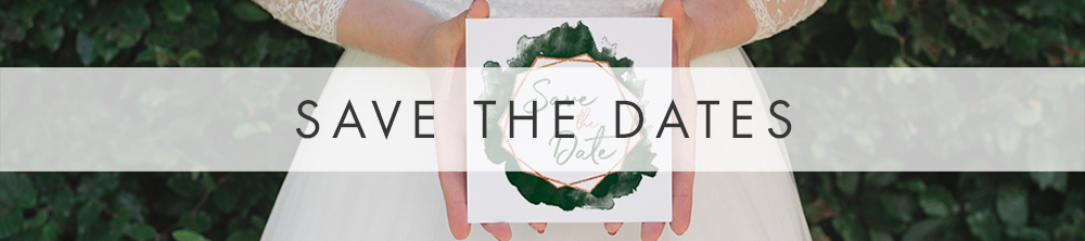 Geometric Emerald Save The Date - modern green watercolour copper frame wedding stationery suite uk - Hawthorne and Ivory