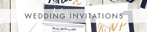 Navy and Gold Invitations - nautical stripe blue gold watercolour wedding stationery suite uk - Hawthorne and Ivory