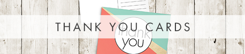 Aqua and Coral Thank You Cards - bold geometric wedding stationery suite UK - Hawthorne and Ivory