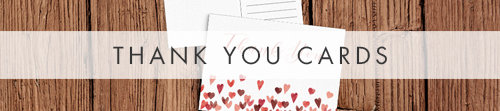 Valentines Hearts Thank You Cards - watercolour red pink heart wedding stationery suite uk - Hawthorne and Ivory
