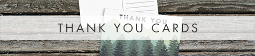 Blue Green Mountains Thank You cards - modern graphic outdoor wedding stationery suite uk - Hawthorne and Ivory