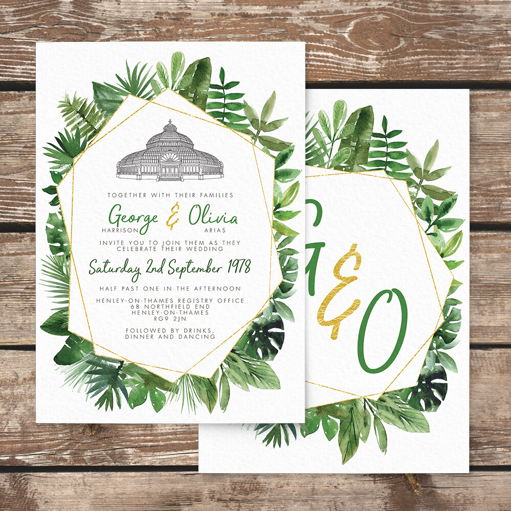 Tropical Palms Save The Date - botanical geometric modern plant greenery wedding stationery - Liverpool Palm House Sefton - Hawthorne and Ivory