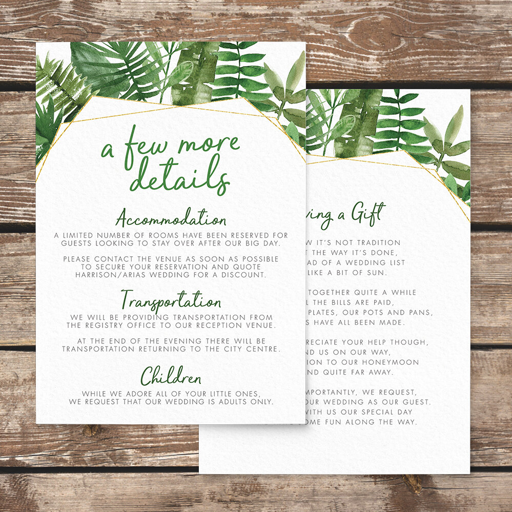 Tropical Palms Details Card - botanical geometric modern plant greenery wedding stationery - Liverpool Palm House Sefton - Hawthorne and Ivory