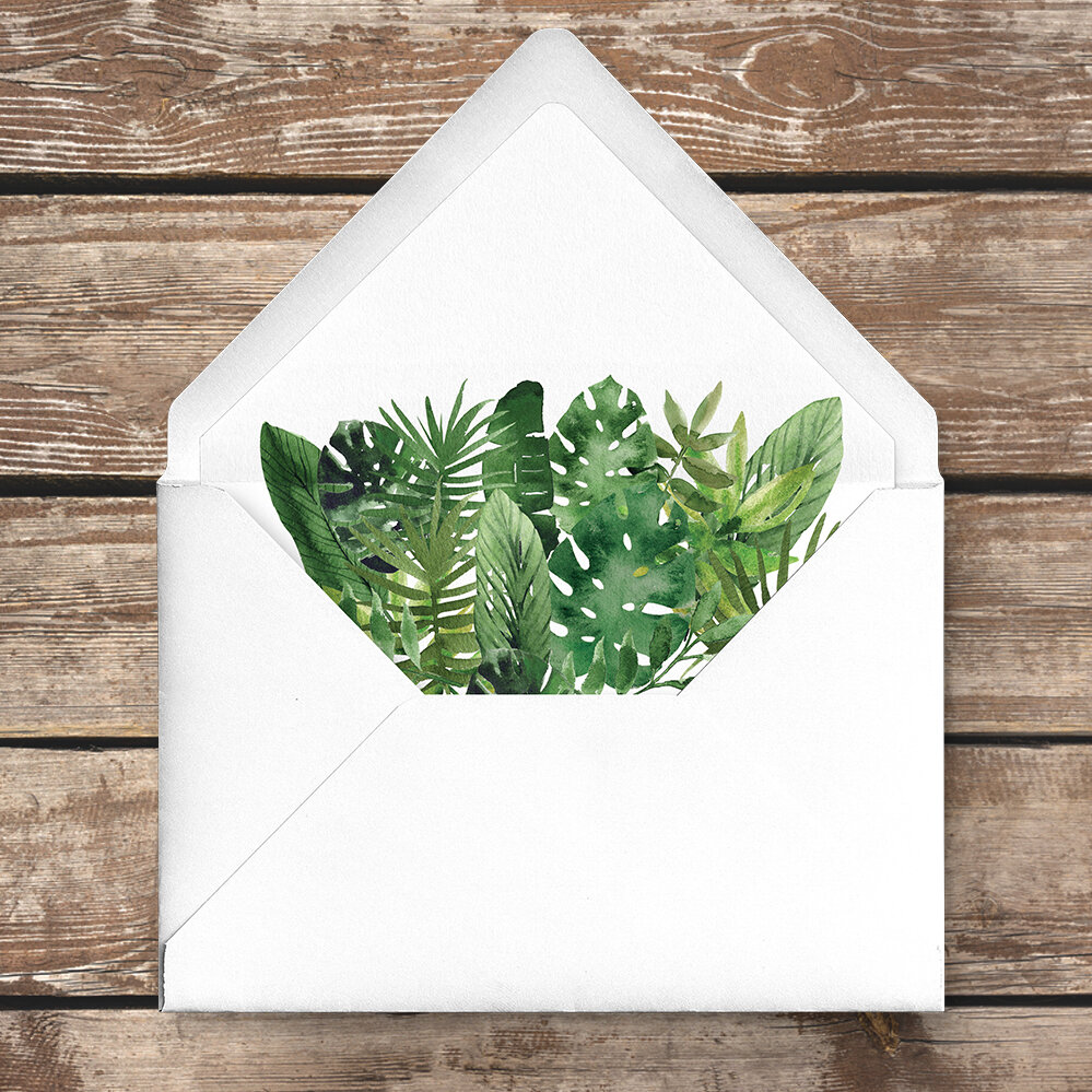 Tropical Palms Envelope Liner - botanical geometric modern plant greenery wedding stationery - Liverpool Palm House Sefton - Hawthorne and Ivory