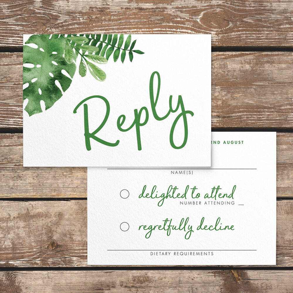 Tropical Palms RSVP Card - botanical geometric modern plant greenery wedding stationery - Liverpool Palm House Sefton - Hawthorne and Ivory