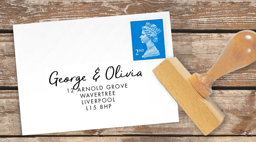 Tropical Palms Return Address Stamp - botanical geometric modern plant greenery wedding stationery - Liverpool Palm House Sefton - Hawthorne and Ivory