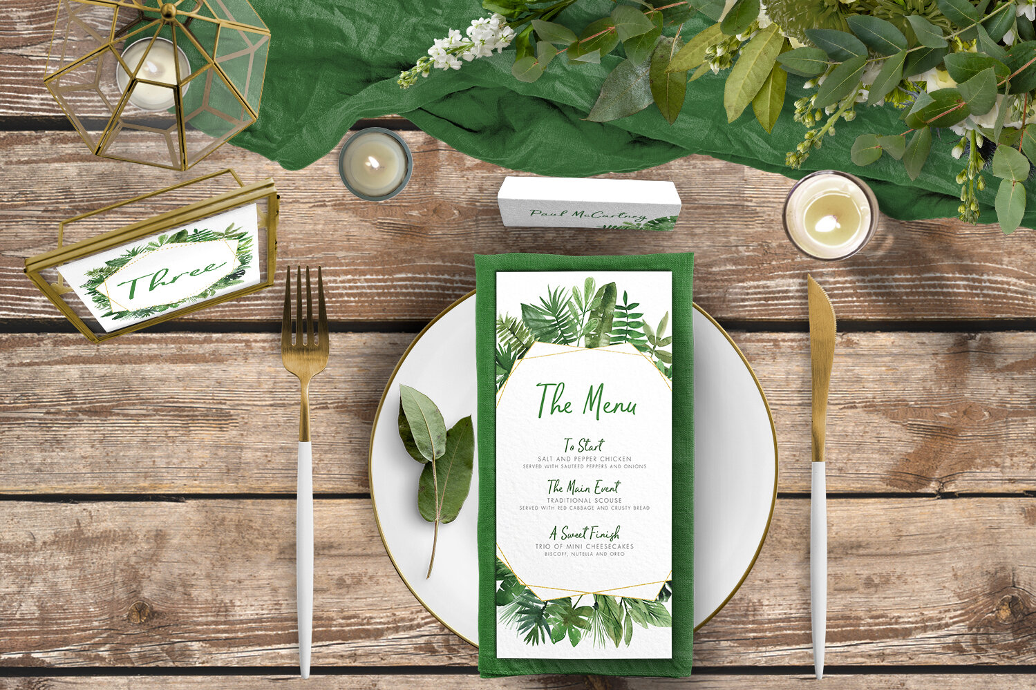 Tropical Palms Tablescape - botanical geometric modern plant greenery wedding stationery - Liverpool Palm House Sefton - Hawthorne and Ivory