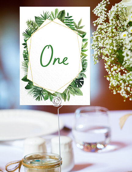 Tropical Palms Table Number - botanical geometric modern plant greenery wedding stationery - Liverpool Palm House Sefton - Hawthorne and Ivory