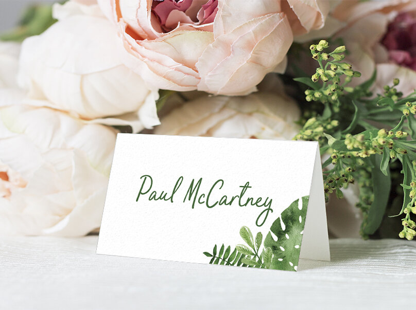 Tropical Palms Placecard - botanical geometric modern plant greenery wedding stationery - Liverpool Palm House Sefton - Hawthorne and Ivory