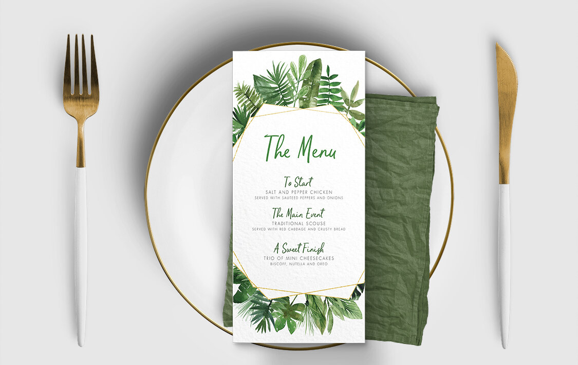 Tropical Palms Menu Card - botanical geometric modern plant greenery wedding stationery - Liverpool Palm House Sefton - Hawthorne and Ivory