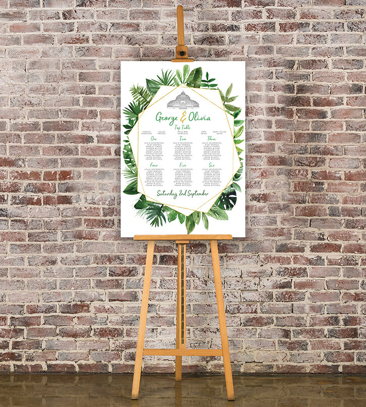 Tropical Palms Table Plan - botanical geometric modern plant greenery wedding stationery - Liverpool Palm House Sefton - Hawthorne and Ivory