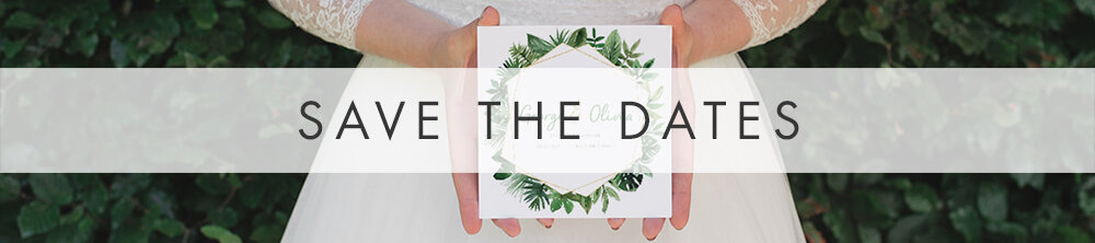 Tropical Palms Save the Dates - botanical geometric modern plant greenery wedding stationery - Liverpool Palm House Sefton - Hawthorne and Ivory