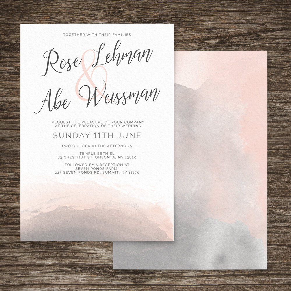 Storm Grey And Blush Pink Wedding Invitations Hawthorne And Ivory