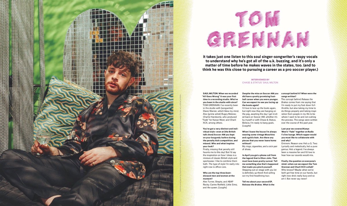 Tom Grennan - Nylon Magazine June Iusse
