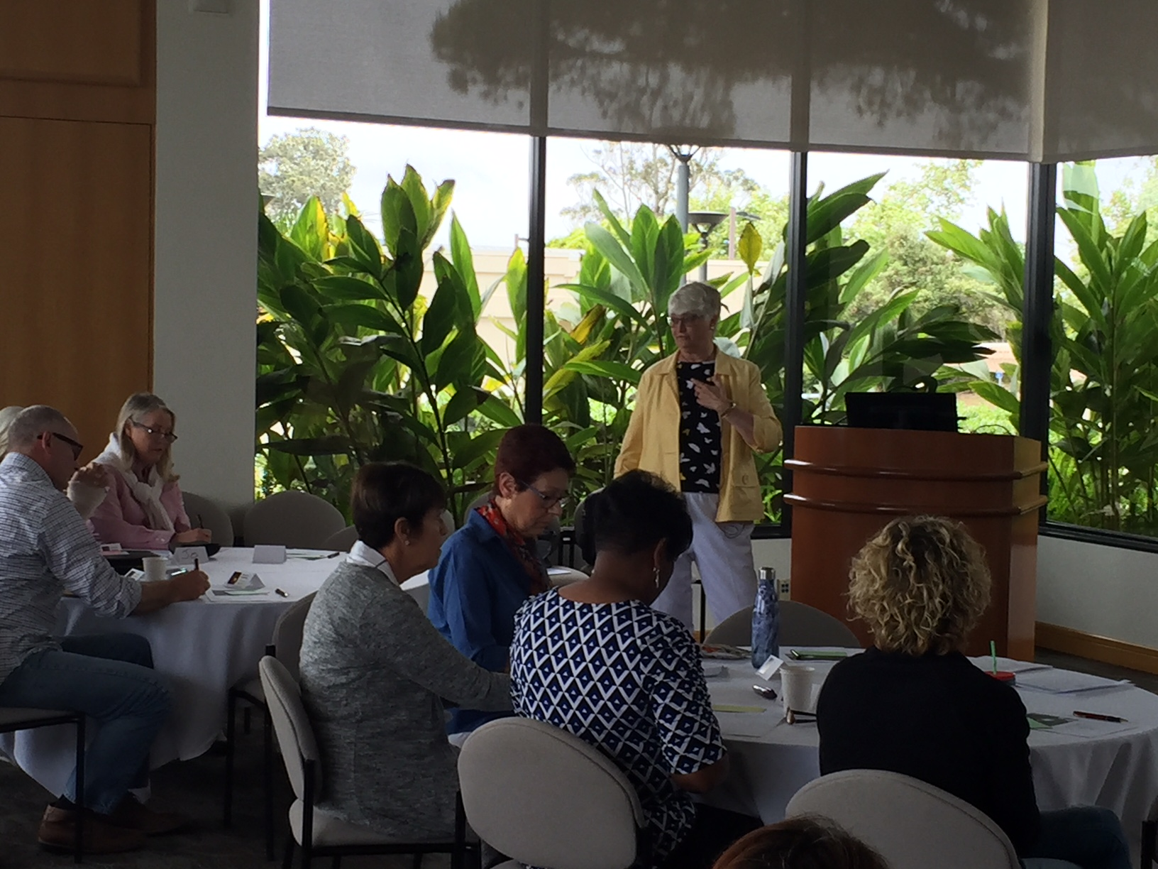 """Tara Gray, presenting her workshop on """"Excel at Teaching"""" with PLNU faculty in May 2018."""