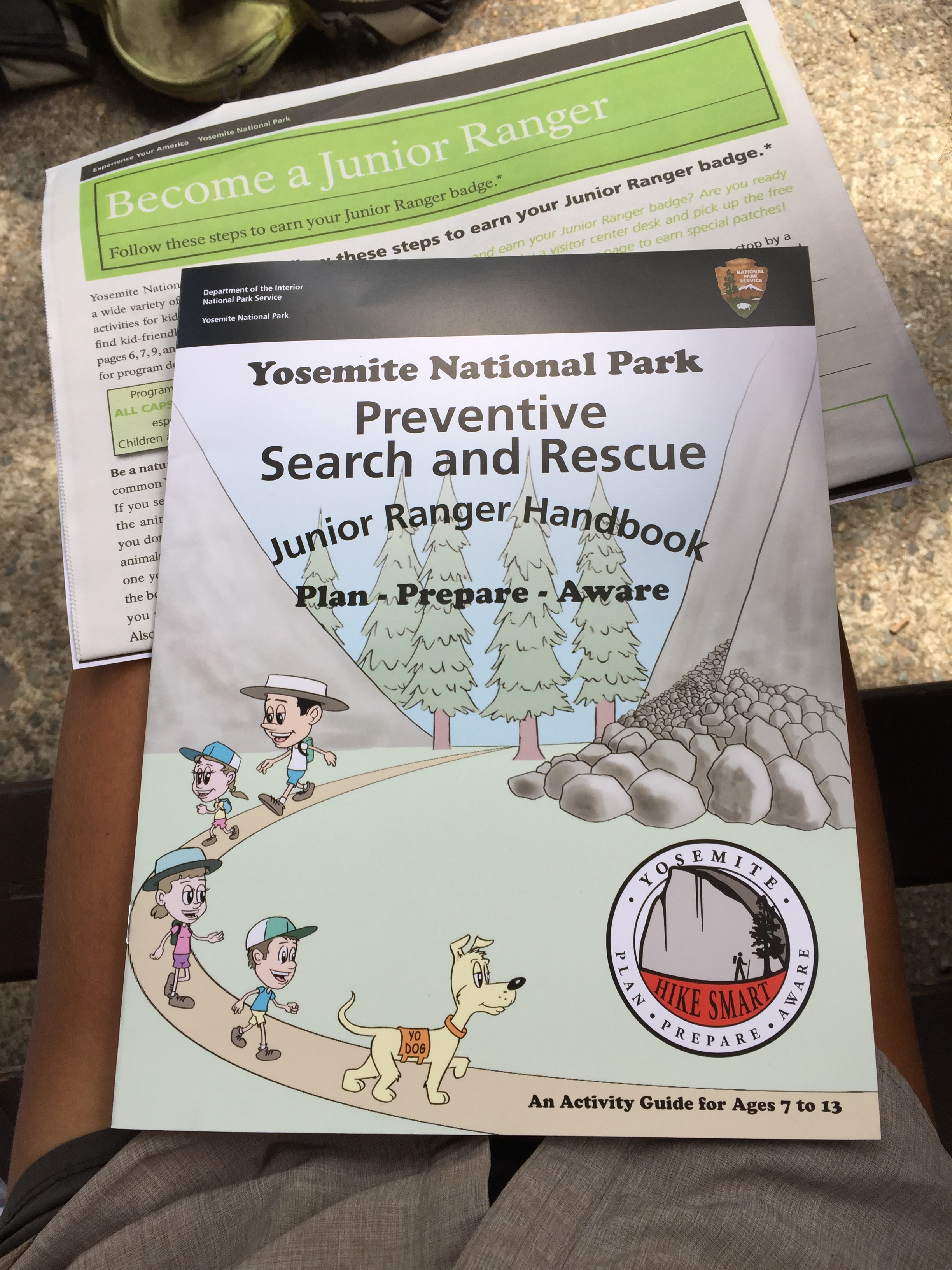 Pathway to becoming a Junior Ranger of Yosemite National Park