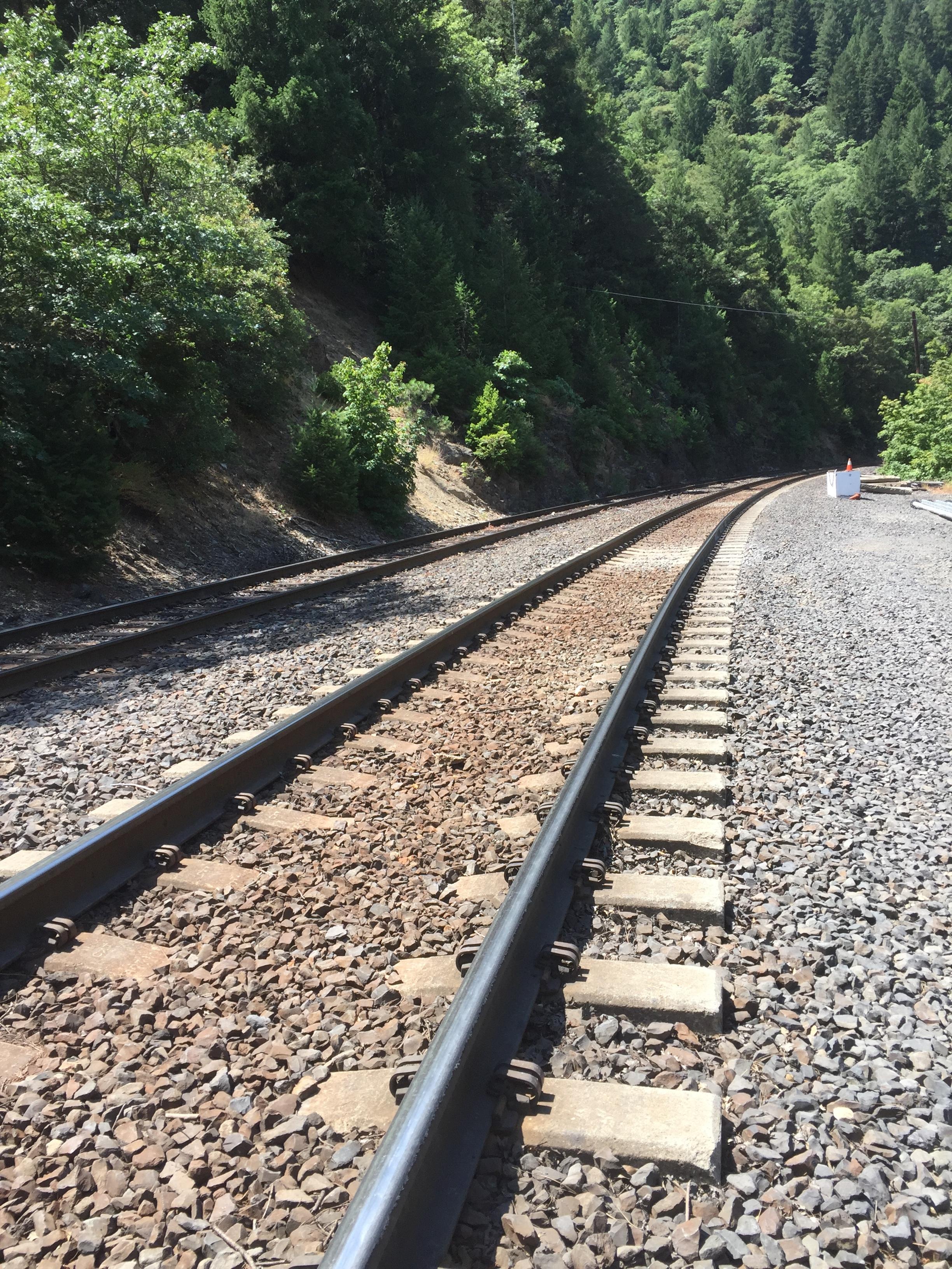 Train track crossing to get to Belden