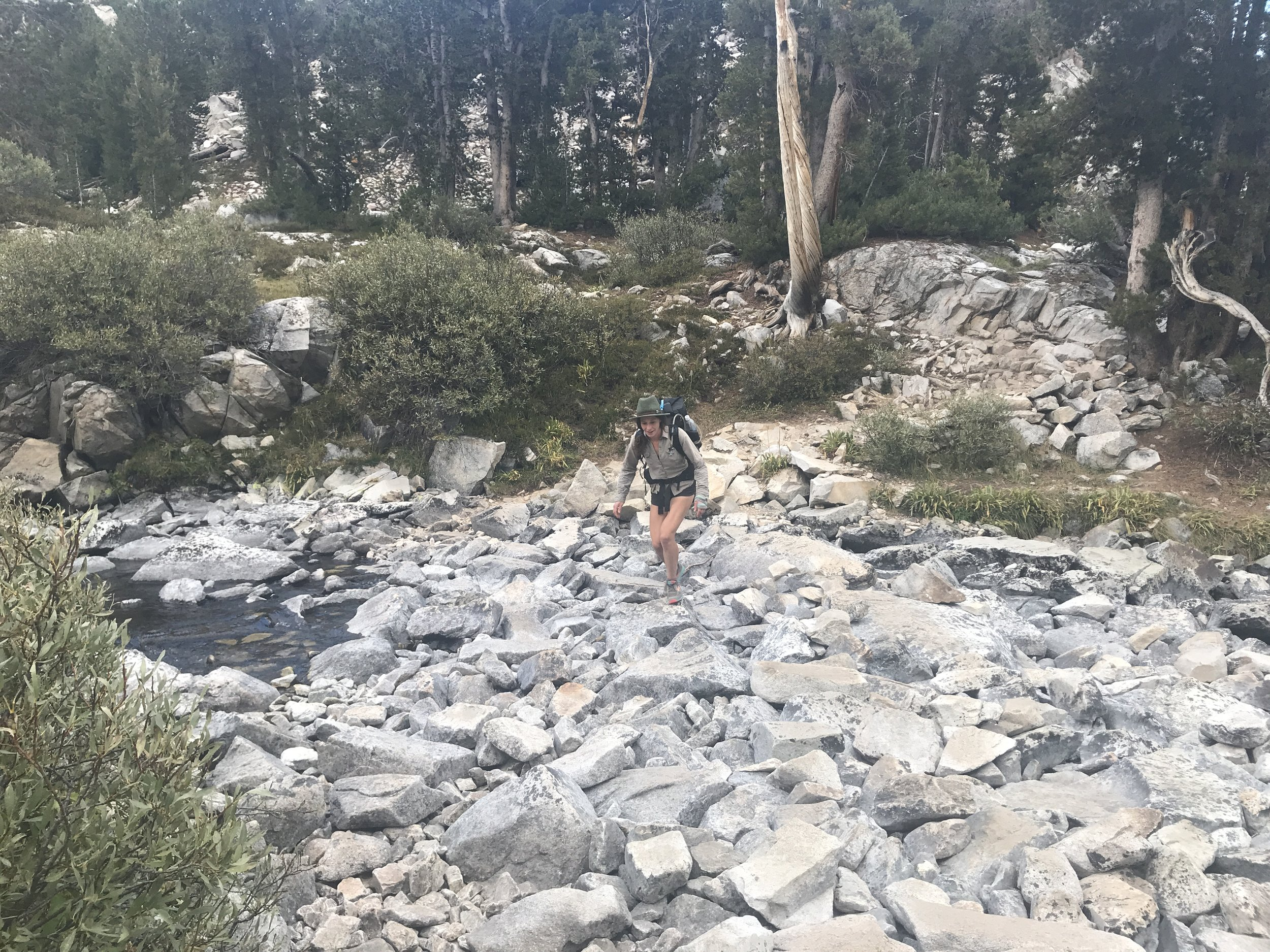 In 2017 this was a dangerous water crossing on the descent from Muir Pass!