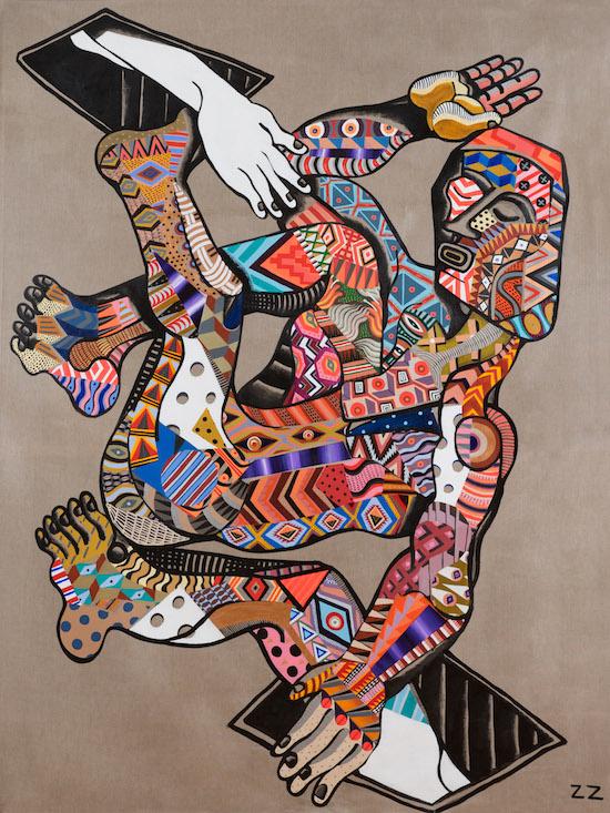 Zio Ziegler, The Desent, 2014, mixed media on canvas, 152,4x213,4 cm