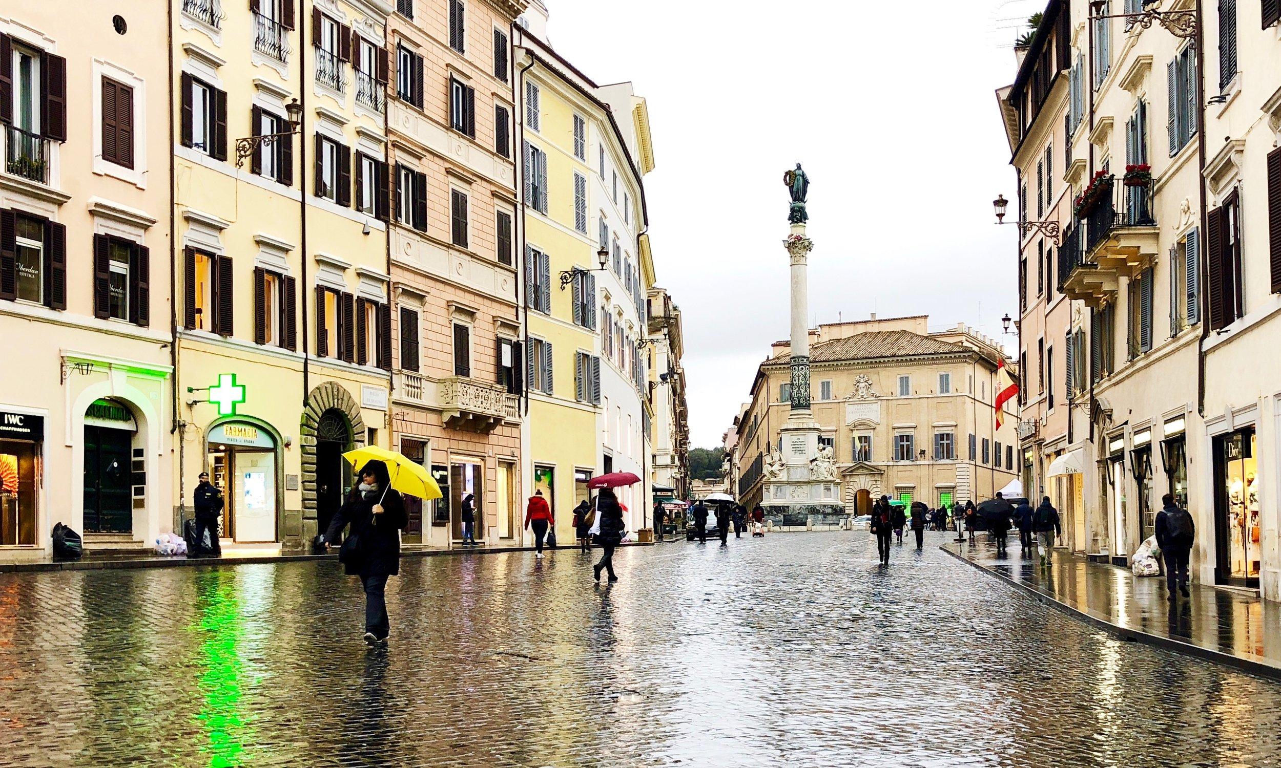 Piazza di Spagna in the rain.