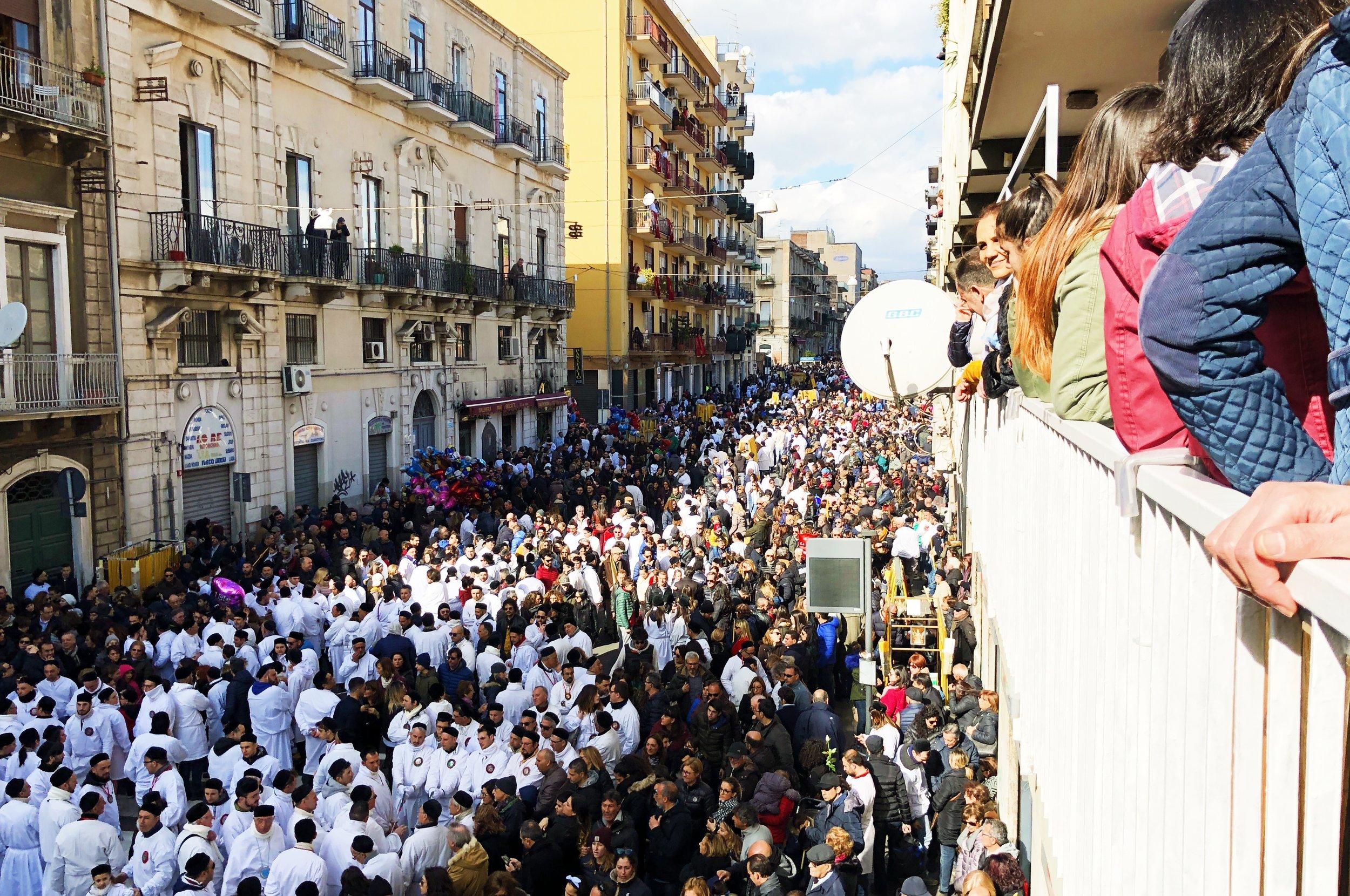 The streets of Catania during the Festa di Sant'Agata