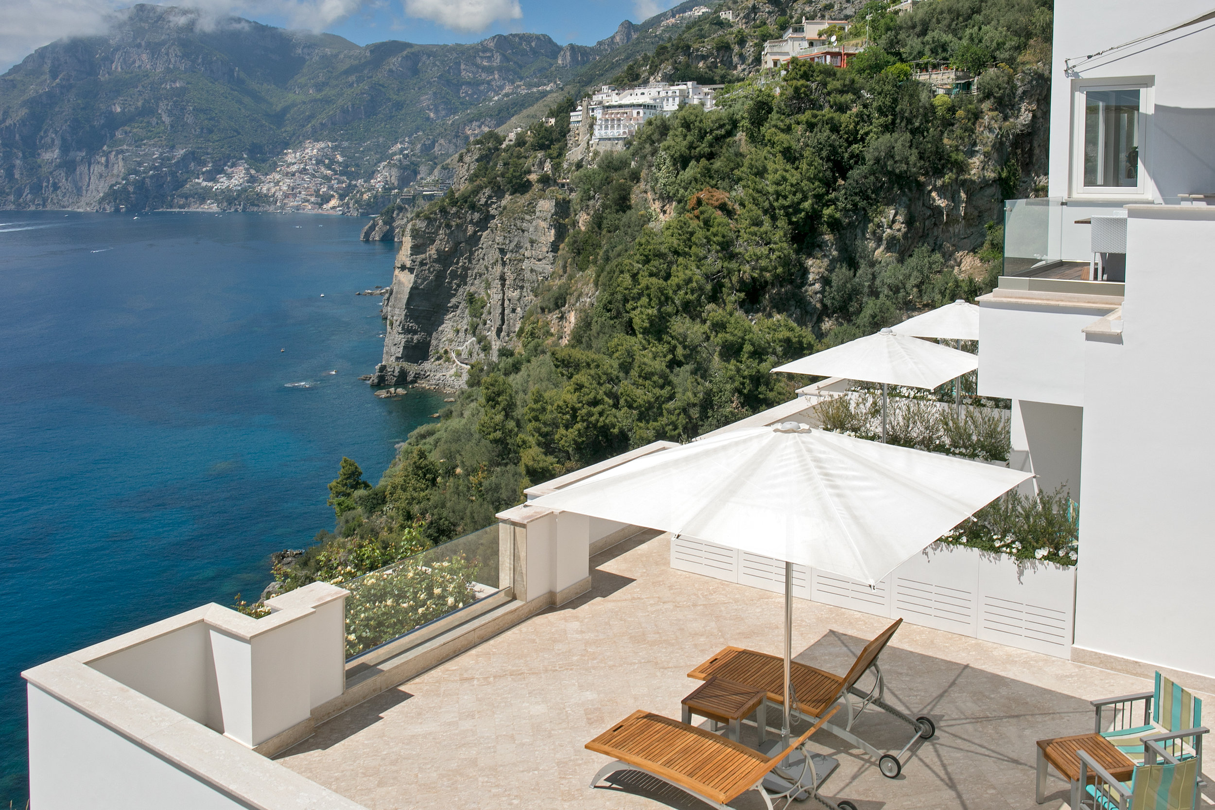 The all-white Casa Angelina nestled into the cliffs of the Amalfi Coast. All photos courtesy of Casa Angelina