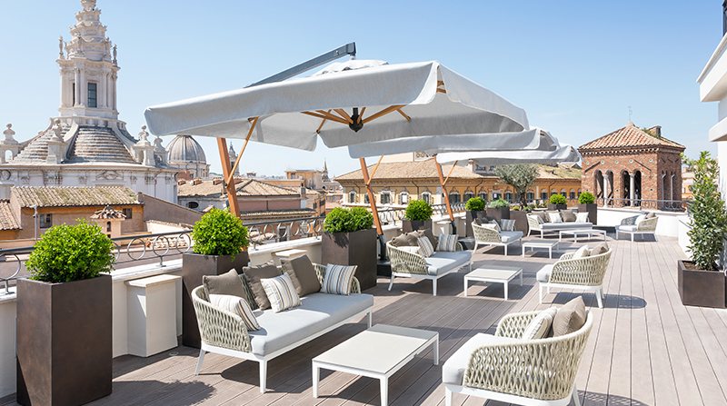 The Pantheon Iconic Rome Hotel's Divinity Rooftop Terrace.  Credit: The Pantheon Iconic Rome Hotel