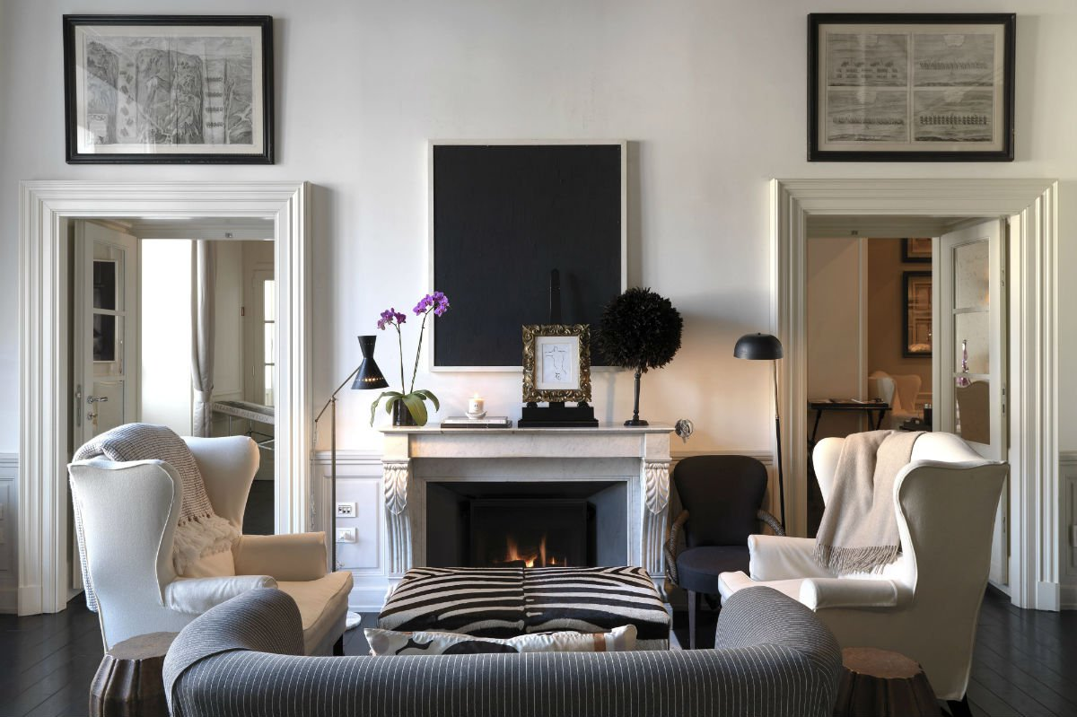 Enjoy a private fireplace in master room 12.