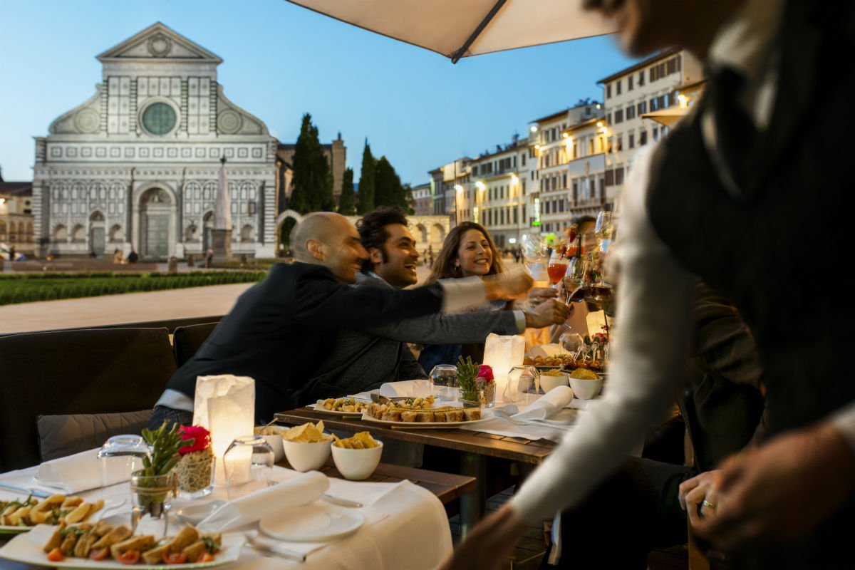 Dinner on the terrace overlooking Piazza Santa Maria Novella.