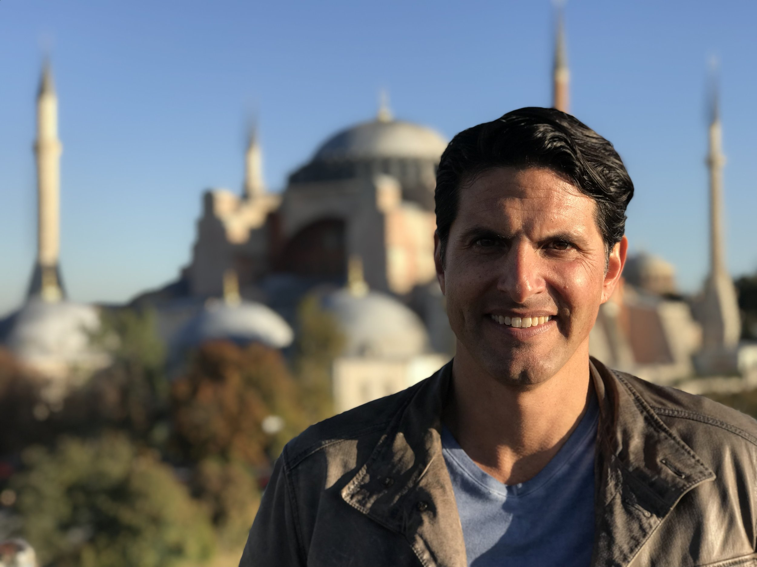 Darius on location at the Hagia Sofia, Istanbul Turkey while shooting PBS's Ancient Invisible Cities. Courtesy of Darius Arya